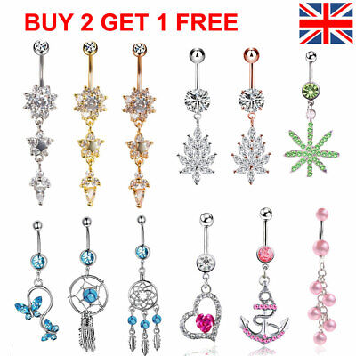 £3.29 • Buy UK Belly Bars New Belly Bar Crystal Dangly Reverse Button Rings Top Drop Navel