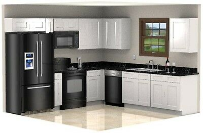 $2156 • Buy White Shaker Cabinets Galley Kitchen All Wood RTA Cabinetry