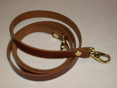 1/2  Tan / Medium Brown Leather Shoulder Bag Replacement Strap Gold Fittings • 9.99£