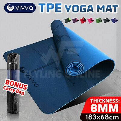 AU28.55 • Buy VIVA TPE Yoga Mat  Eco Friendly Exercise Fitness Gym Pilates Non Slip Dual Layer