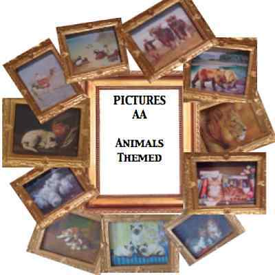 Dolls House Miniatures Handmade Picture X1  (set AA) - ANIMALS - Choose From 11 • 4.50£