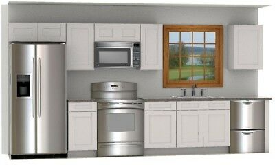 $1962 • Buy Daytona White Shaker 14 Foot Run Of RTA Cabinets All Wood DL Cabinetry