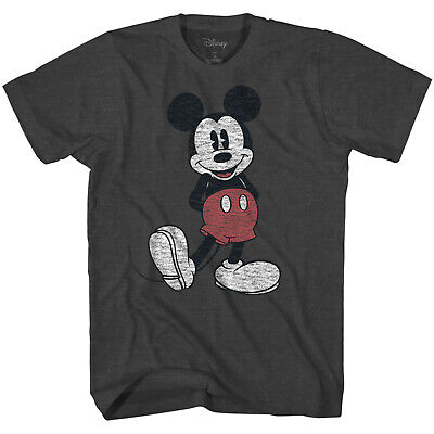 $13.76 • Buy Disney Mickey Mouse Full Pose Distressed Charcoal Heather Men's T-Shirt New