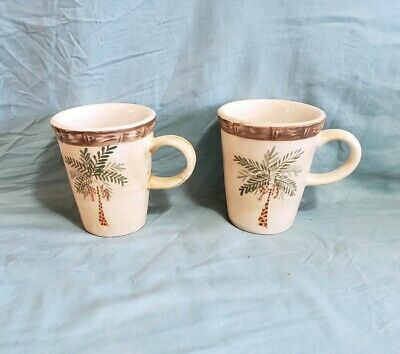 $10.99 • Buy Pair Of Home Trends  West Palm  Coffee Mugs 12 Oz Cups 4 1/2  Tall*