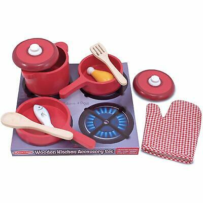 Melissa & And Doug Deluxe Wooden Kitchen Accessory Set Pots & Pans 8 Pcs • 16.99£