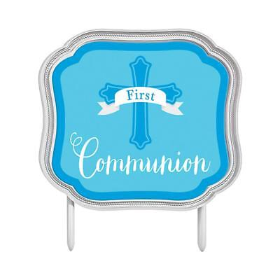 First Communion Blue Cake Topper Religious Party Decoration - 140199 • 2.95£