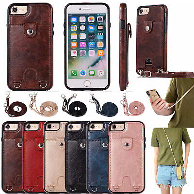 AU12.69 • Buy Long Strap Hybrid Leather Case With Card Holder For Iphone 6 7 8 XS Max XR S9 S8