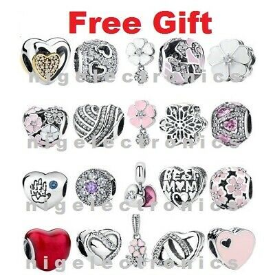 $15.99 • Buy Authentic 925 Sterling Silver Sparkle & Color Pink Charms Fit European Charm NEW