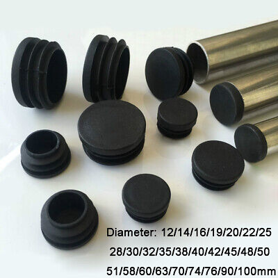 Round Plastic Black Blanking End Cap Caps Tube Pipe Inserts Plug Bung 12~100mm • 1.21£