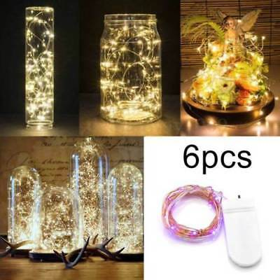 6 Pack 20 LED Battery Micro Rice Wire Silver Fairy String Lights Party Decor Hot • 4.95£