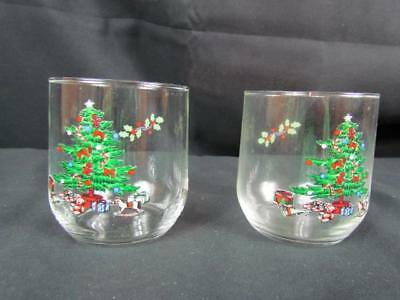 $2.54 • Buy 2 Tienshan Holiday Hostess Christmas Tree Old Fashioned/Rocks Glasses Noel 8oz