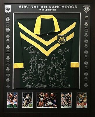 AU600 • Buy Australian Legends Signed & Framed Rugby League Jersey - Blazed In Glory