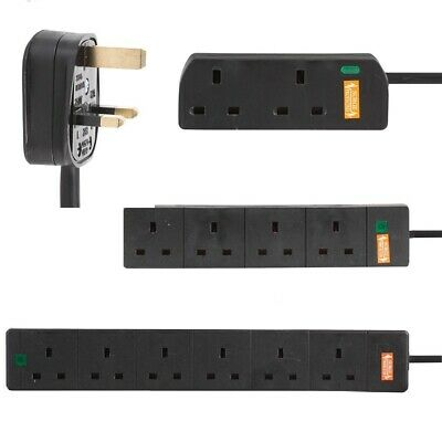 Surge Protected Mains Extension Lead UK Power Cable Plug Trailing Socket Black • 8.99£