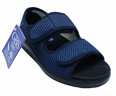 Ladies Navy Gbs Medical Ortho Adjustable Non-slip Touch Strap Slipper Shoes • 14.99£