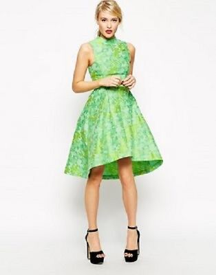 ASOS Green Jacquard High Low Midi Party Wedding Prom Dress With High Neck Size 8 • 59.99£