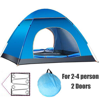 £18.99 • Buy 3 4 Man Person Waterproof Two Layer Couple Outdoor Hiking Camping Pop Up Tent UK