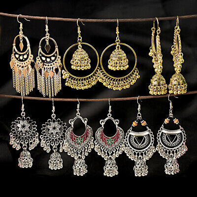 AU3.86 • Buy Fashion Bollywood Bohemian Silver Gold Plated Jhumka Handmade Dangle Earrings