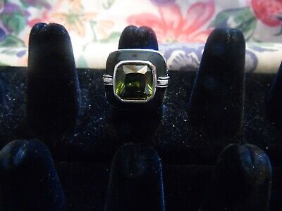 $ CDN13.59 • Buy Lia Sophia Silver And Black With Green Stone  Covet  Ring Size 8 NEW