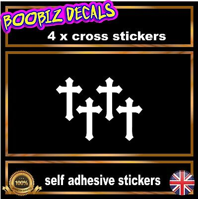 4 X Christian Cross Stickers  Car / Wall Home Laptop Window Religious Stickers  • 2.99£