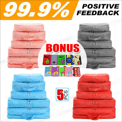 AU9.59 • Buy 5/6pcs Packing Cube Pouch Suitcase Clothes Storage Bags Travel Luggage Organizer