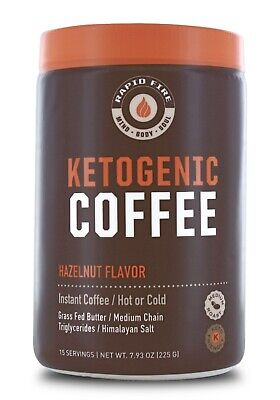 $15.03 • Buy Rapid Fire KETOGENIC COFFEE Hot Or Cold HAZELNUT Keto MCT Instant Blend BURN FAT