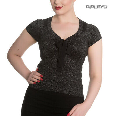 £7.50 • Buy Hell Bunny Shirt Rockabilly Top ANGETTE Shiny Twinkle Black Silver All Sizes
