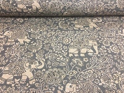 Indian Elephant Batik Cotton Pelt Grey 140cm Wide Curtain/Craft Fabric  • 1.99£