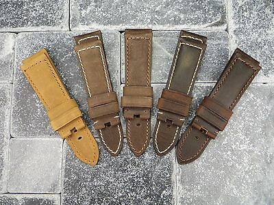 22mm Assolutamente Leather Strap Brown Deployment Watch Band Large XL Long PAM • 23.93£
