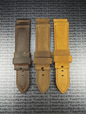 24mm Genuine Leather Strap Brown Tang Assolutamente Watch Band Pam 1950 I • 18.80£