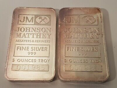 $ CDN599.99 • Buy Rare Consecutive 5oz SILVER JOHNSON And MATTHEY T.D. Bank LOGO BAR