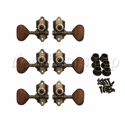 $24.37 • Buy 3 Pairs Acoustic Guitar Tuning Pegs Tuners Acacia Wood Machine Heads