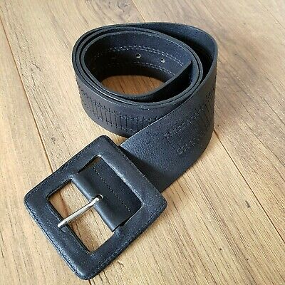 Jigsaw Womens Black Leather Tooled Belt Big Square Buckle Wide 32 - 39 Inches • 24.99£