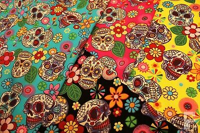 £8 • Buy 100% Cotton Poplin Fabric With Sugar Skulls - Mexican Day Of The Dead -halloween