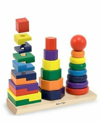 Melissa & And Doug Geometric Stacker - Wooden Educational Kids Toy • 13.99£