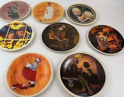 $ CDN16.21 • Buy Lot Of 8 Norman Rockwell Plates Christmas & Mother's Day 1974-1981 Ltd. Ed.