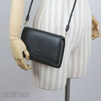 278d117ab194 Tory Burch TAYLOR Black Pebble Leather Flat Wallet Clutch Cross-Body Mcgraw  • 187.77$
