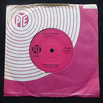 """THE HONEYCOMBS Have I The Right PYE SOLID CENTRE UK Press VINYL 7"""" 45 EX • 8£"""