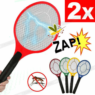 AU17.67 • Buy 2x Electric Bug Zapper Racket Fly Swatter Mosquito Killer Insects Bat Battery