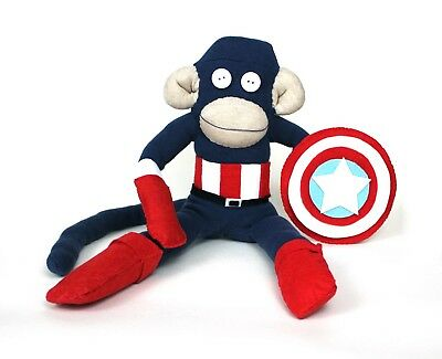 Captain America Cosplay Sock Monkey MADE TO ORDER Unique Handmade Christmas Gift • 25£