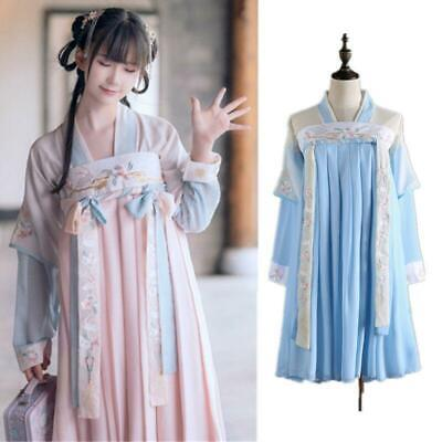 $ CDN42.32 • Buy Lady Hanfu Dress Costome Chinese Embroidery Floral Fairy Lolita Skirt Cosplay Sz