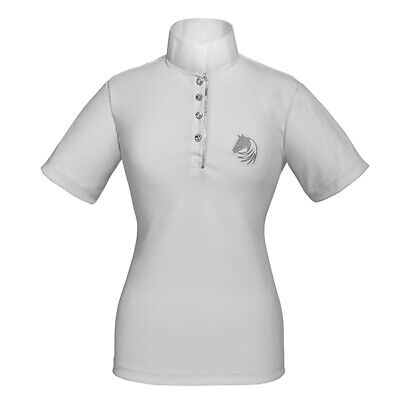 £30 • Buy Elico Ladies Crystal Button White Short Sleeved Show Shirt Jumping Dressage