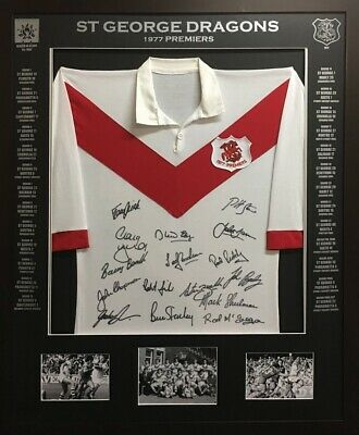 AU500 • Buy Blazed In Glory - 1977 St George Dragons Premiers - NRL Signed And Framed Jersey