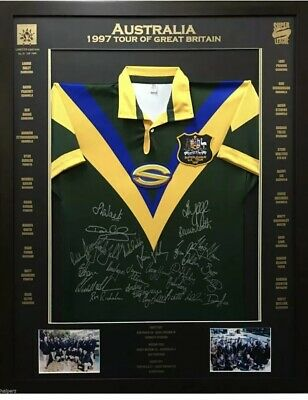 AU525 • Buy 1997 Australian Super League Tour Of Great Britain Signed & Framed Rugby Jersey