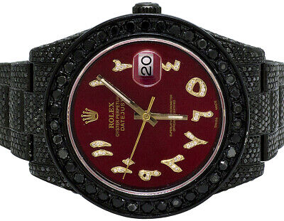 $ CDN23656.42 • Buy Mens Rolex Datejust II 41MM 116300 Red Dial Black PVD Diamond Watch 19.75 Ct