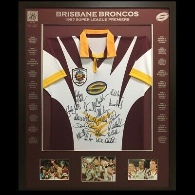 AU500 • Buy Blazed In Glory - Brisbane Broncos 1997 Super League Premiers Signed Nrl Jersey