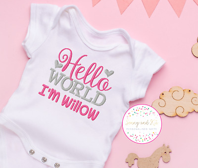 £7.99 • Buy Personalised Baby Vest Bodysuit, Embroidered Clothes, Pink And Silver Girl Gift,