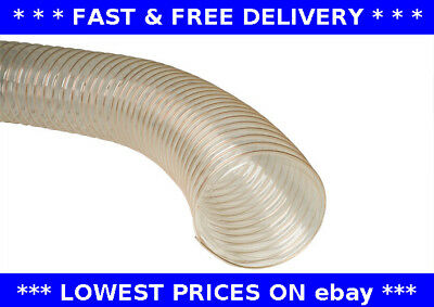 PU Clear Flexible Ducting Hose 100mm 10M Saw Dust Woodwork Extraction Pipe 4  • 73£