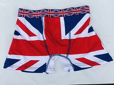 Mens 1 Pair Boxer Shorts In Union Jack Pattern Sizes S.M.L • 4.99£