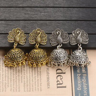 AU2.96 • Buy Women's Gold Silver Tassel Peacock Engrave Jhumka Tassel Wedding Indian Earrings