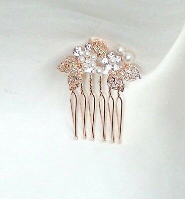 £4.99 • Buy New Small Rose Gold Colour Pearl Diamante Hair Comb Grip Wedding Bridal Party
